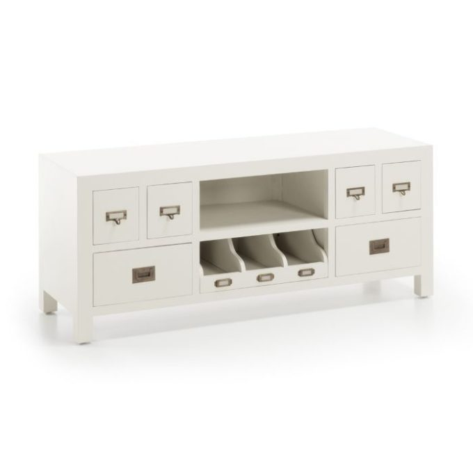 Mueble TV madera color blanco 125x40x50cm